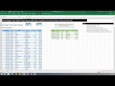 Excel Magic Trick 1349: Power Query with Input Variables from Excel Sheet to Extract Records