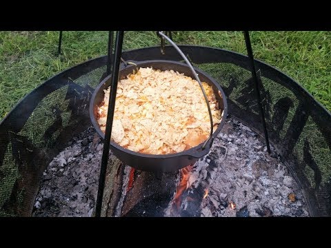 Beef Enchilada Casserole in my Lodge Dutch Oven - Cast Iron Camp Cooking