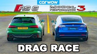 Audi RS6 v Tesla Model 3 Performance  - DRAG RACE *ICE vs EV*