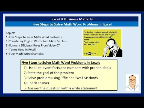 Excel & Business Math 09: Five Steps to Solve Math Word Problems in Excel