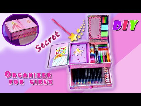 DIY.Organizer for girls.Back to school.Cardboard.Desktop organizer.