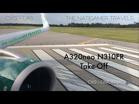 Frontier Airlines Take-Off CVG / Cincinnati - LAS / Vegas A320neo N310FR Sunny the Lizard