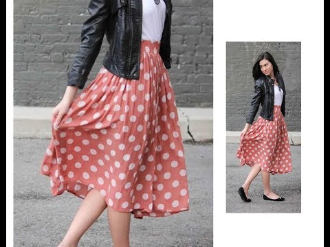 Elastic gathered Midi Skirt making in just 2 Steps - Very Simple & Easy - Complete Tutorial