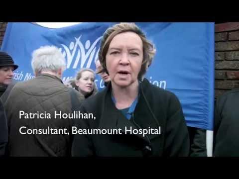INMO Nurses protest at hospital Emergency Dept crisis, Beaumont Hospital, Dublin 9th January 2015