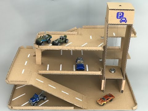 DIY toy car parking hot wheels with lift - Cardboard toy