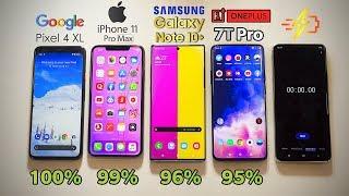 Google Pixel 4 XL vs iPhone 11 Pro MAX vs Note 10 Plus vs OnePlus 7T Pro - Battery Drain Test!