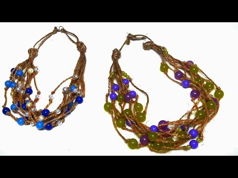 How To Make Natural Twine Jewelry Without Clasp - DIY Twine Necklace Tutorial