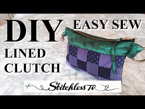 DIY How to Sew a Lined Zipper Clutch Bag