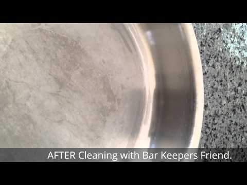Before and After Cleaning All-Clad Stainless Steel Pan with Bar Keepers Friend (BKF)