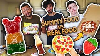 Gummy Food vs. Real Food Challenge! *EATING GIANT GUMMY FOOD*