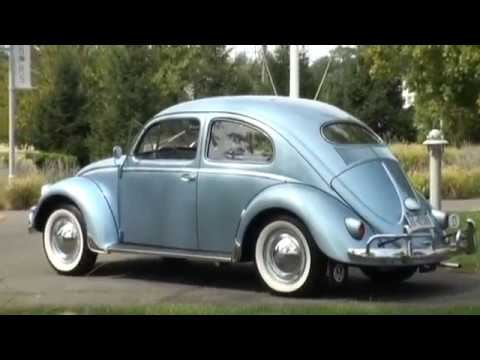Classic 1955 VW Beetle Bug Iris Blue Sedan Restored Vallone
