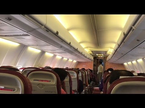 Air India express flight inside view and food