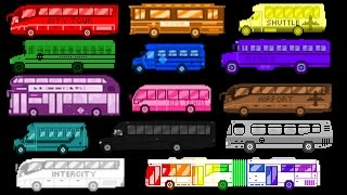 Bus Colors - Street Vehicles - The Wheels on the Bus - The Kids