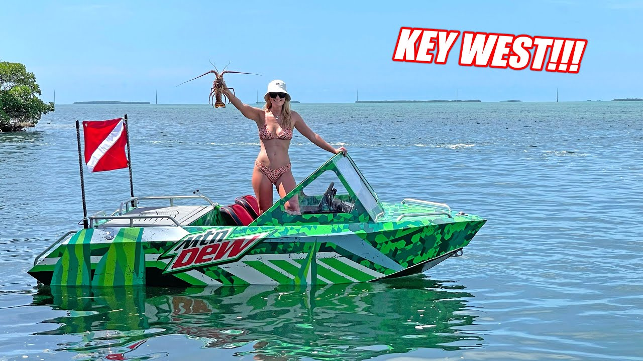 Catching Lobster and Jumping Sunken Boats!!! Supercharged Mini Jet Boat Goes to KEY WEST!!!