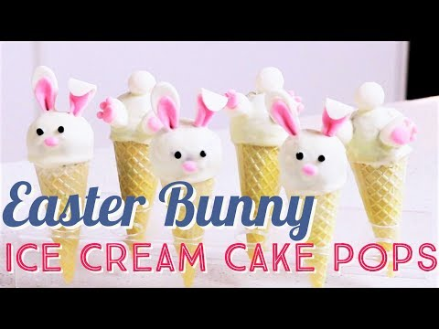 Cute Easter Bunny Ice Cream Cake Pops made with Fondant and Chocolate Fully Edible