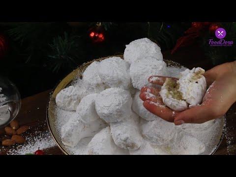 Kourabiedes Recipe/Greek Almond Snowball Cookies/Fursecuri Grecesti cu Migdale