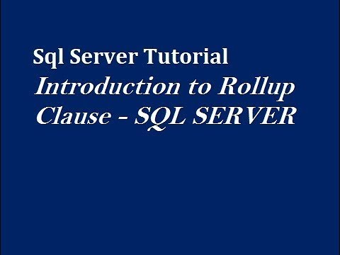 Rollup Clause in Sql Server