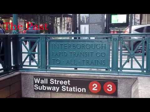 The Past...in the present  - Wall Street Subway Station Entrance ( Old IRT Signage)