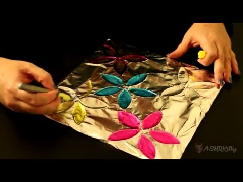 ASMR Craft | Foil Flower Art (coloring, sharpies, foil crinkling) | Silent No Talking