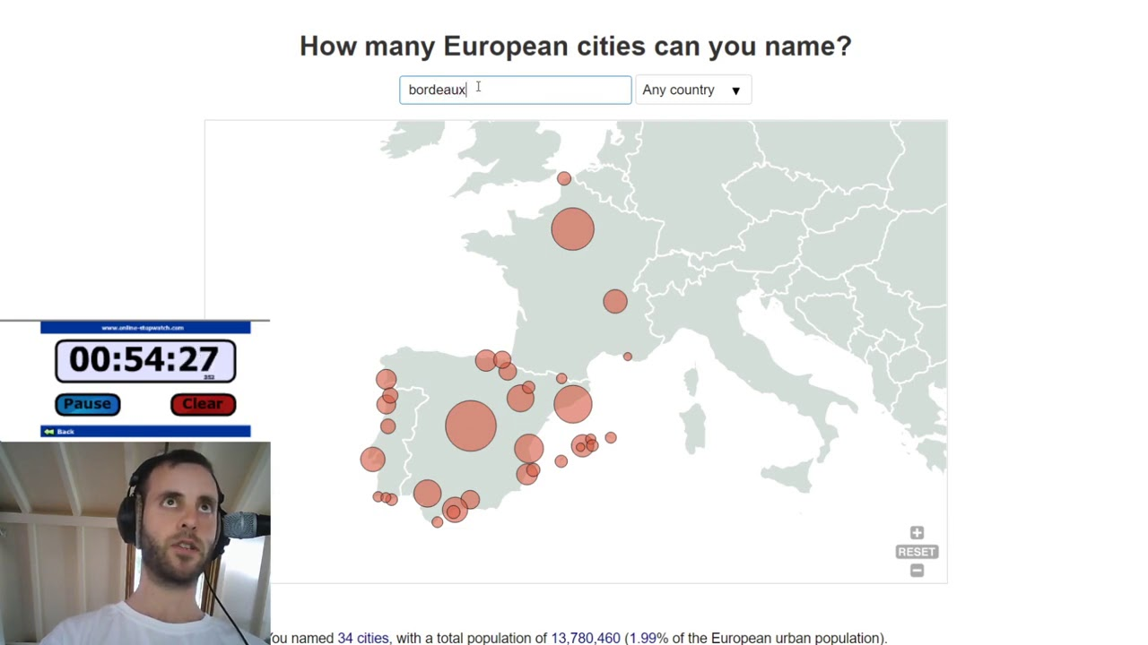 I gave myself one hour to name as many European cities as I could think of