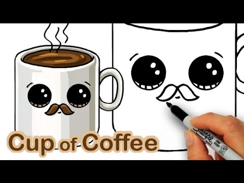 How to Draw a Cartoon Cup of Coffee Cute and Easy with Mustache