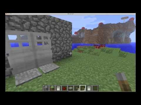 MINECRAFT: Double iron doors tutorial with pressure plates, button or lever (open synchronously)