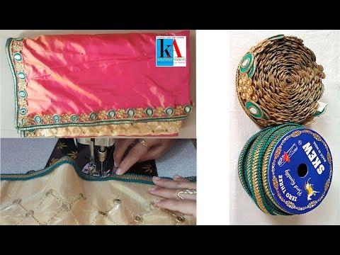 How to make 2 peice designer saree at home // half and half saree using border and lace tutorial