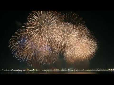 Qatar National Day fireworks at Doha Corniche 4k Video Dec 18 2018