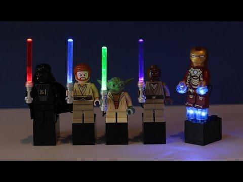 Custom LEGO Star Wars Light Up Lightsabers! & Iron Man Light Up Kit!