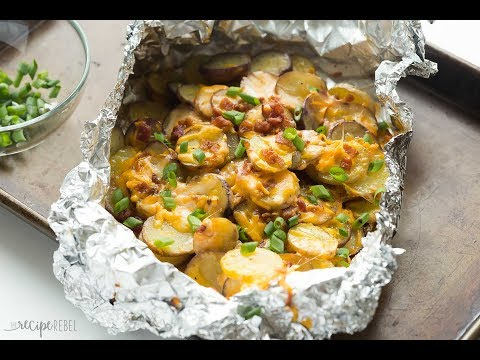 Cheesy Grilled Potatoes with Bacon [Foil Packs]