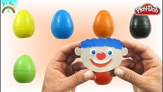 Colors Surprise Eggs Opening (Play Doh Toys - Amusing clown jumping out from a box)