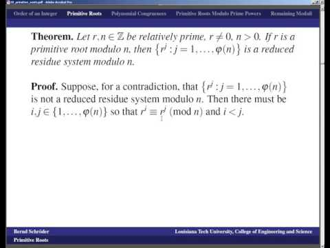 LSU   Number Theory   Lecture 20 primitive roots