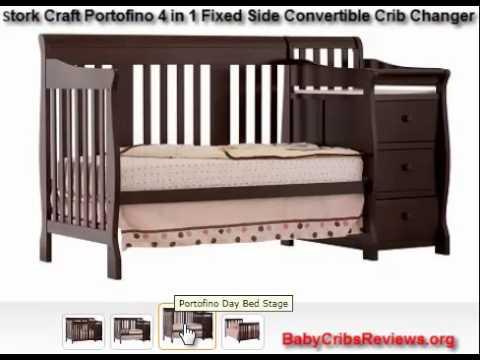 Stork Craft Portofino 4 in 1 Fixed Side Convertible Crib Changer