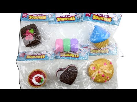 Soft 'N Slow Squishies Slo Rise Food Sweet Shop Unboxing Toy Review Cookies, Macarons, Cupcake, Tart