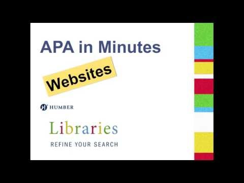 APA in Minutes: Websites