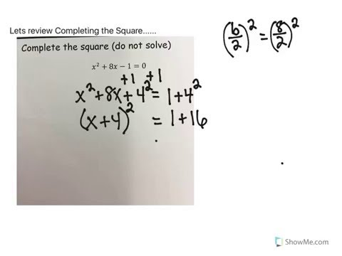 Quadratics: Changing from Standard Form to Vertex Form