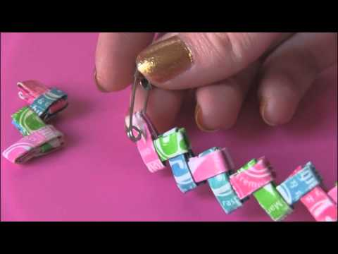 DIY CANDY WRAPPER JEWELRY - Starburst Bracelet // Gum Chain Link - How To | SoCraftastic