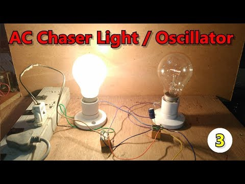 DIY| without IC | AC chaser/flasher/oscillator/blinking two Lights using Two 12v DC relays