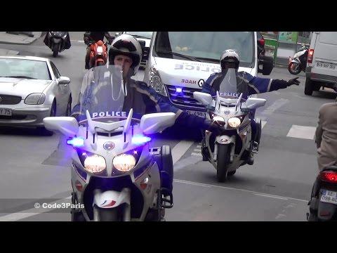 Police Motorcycle Escort of Police Van in Paris