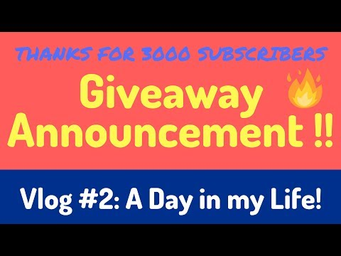 Thanks for 3000 Subs | Giveaway Announcement | A day in my Life | Hindi