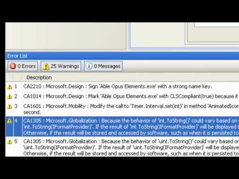 Code Analysis  (Visual Studios)