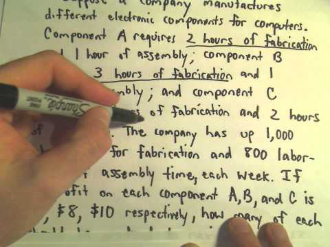 The Simplex Method - Finding a Maximum / Word Problem Example, Part 1 of 5