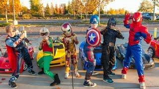 Superheroes Mega Power Wheels Race 4!