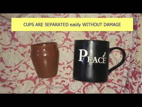 How to Separate Ceramic Cups if they are Stuck-up [Telugu Commentary]