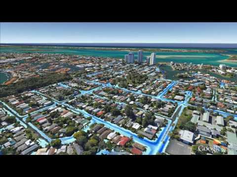 high resolution flood map 3d animation - google earth