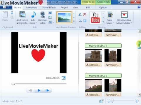 Windows Live Movie Maker Tutorial #3: Fit photos to soundtrack