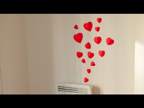 DIY How to make simple 3D heart wall decoration in 15min. (Wedding, Valenitne's)