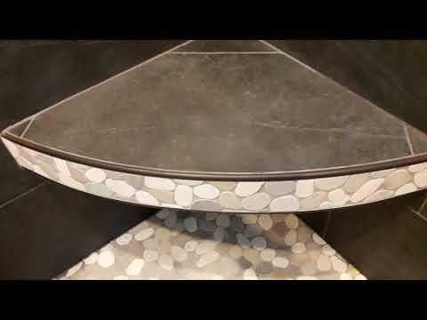 Curved floating corner bench
