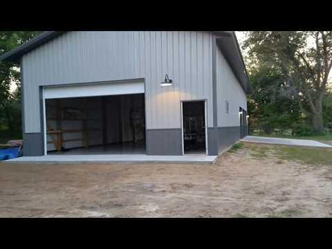 Exterior lights on the pole barn