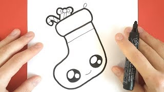 How to Draw a Christmas Stocking Cute step by step